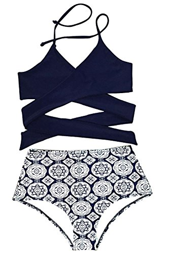 3fa4e44a4e482 Front cross, tie at back and high-waisted fit design with lining Attention:  Without Padding bra. Please rest assured that we will ...
