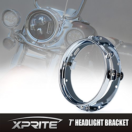 Xprite 7″ Inch Chrome Round Headlight Ring Mounting Bracket