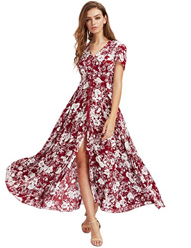 ae021aa7947 Milumia Women s Button Up Split Floral Print Flowy Party Maxi Dress Red XXL