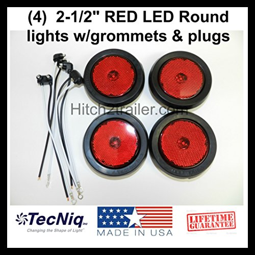 2 Red   2 White 4 U2033 Round Led Stop Turn Tail Back