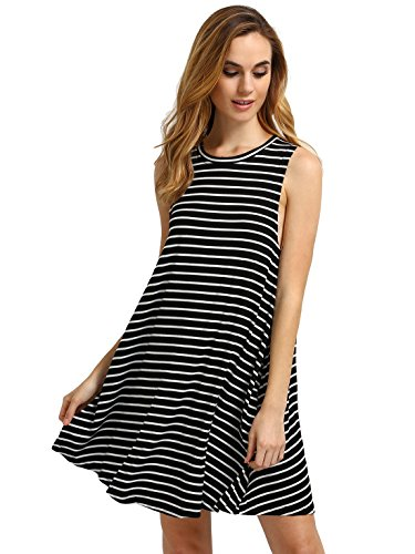 f1c64a2d8 Round neck, striped print, sleeveless, flowy dress, wide hem, swing dress.  Refer our size chartnot amazonxs-buest:33. 1