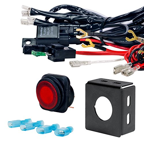 Xprite ATV//Jeep LED Light Bar Wiring Harness Relay ON//OFF LASER ROCKER SWITCH