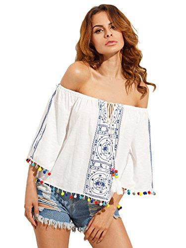 136eb1a0e1e71b Milumia Women s Print Off Shoulder Flare Sleeve Top Loose Blouse White XS